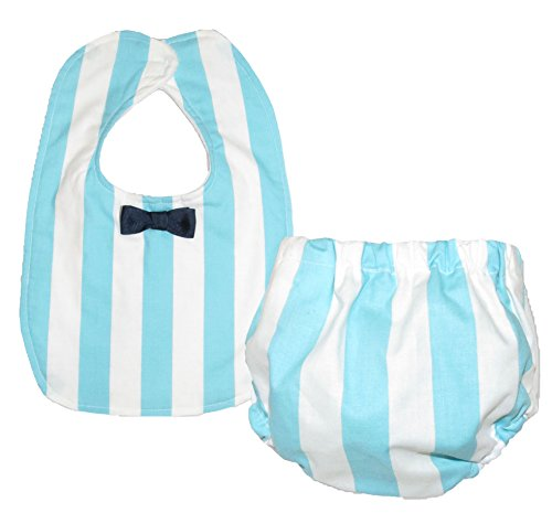 Caught Ya Lookin' Bib and Bloomer Set, Blue and White Stripe