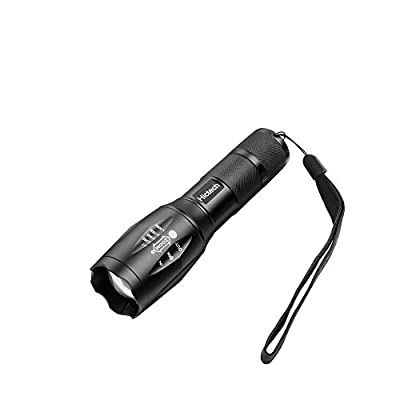 LED Flashlight, Hictech 1600 Lumens A100 Brightest Tactical Flashlight Outdoor Handheld Zoomable Flashlight with 5 Modes ,Adjustable Focus Torch , Water Resistant Lamp