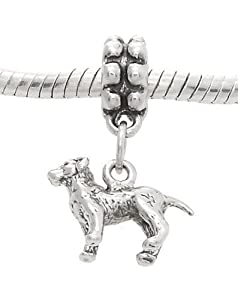 Sterling Silver Labrador Retriever Dog Dangle Bead Charm