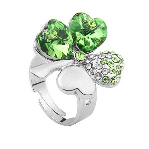 Le Premium® - Anello a trifoglio con Swarovski Elements in Peridoto verde