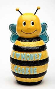 "10 Inch Yellow and Black Bumble Bee ""I Love Honey"" Cookie Jar"