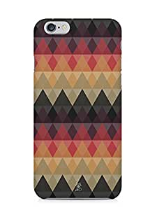 For Apple iPhone 6, iPhone 6S Triangles Triangles Polygon Shapes Seamless Pattern Black Orange - Designer Printed High Quality Smooth Matte Protective Mobile Case Back Pouch Cover by Creative Cases
