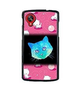 Fuson 2D Printed Cat Designer back case cover for LG Google Nexus 5 - D4523