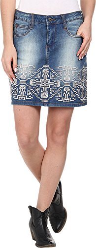 Stetson Women's Denim Short Skirt w/ Emb On Front Back Blue Skirt 16