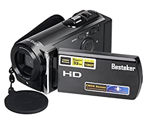 Camera Camcorders, Besteker Portable Digital Video Camcorder Max. 16.0 Megapixels HD 720P DV 2.7 Inches TFT LCD Screen 16X Zoom Camera Recorder (601S-Black)