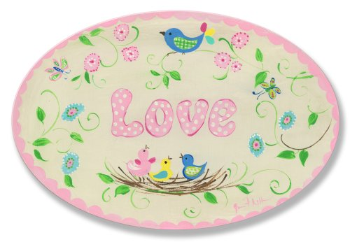 The Kids Room by Stupell Love Birds in Nest Oval Wall Plaque