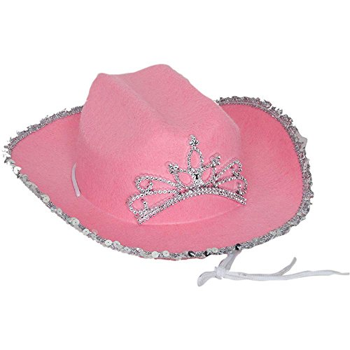 Kids Fuchsia Cowgirl Hat with Tiara - One Size