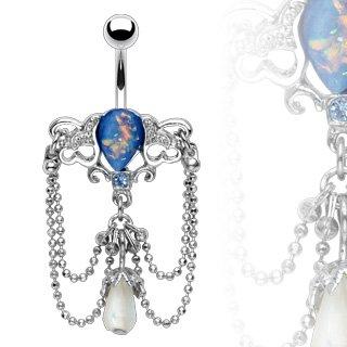 Vintage Ethnic Style Blue Opal Beads Chandelier Dangle Belly Bar