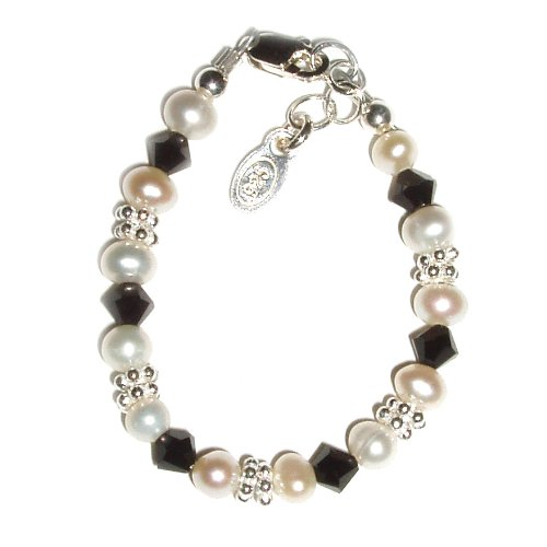 Aubrey Sterling Silver Childrens Girls Bracelet Childrens onyx stones and freshwater pearls accented with silver daisies Size Medium 1-5 Years