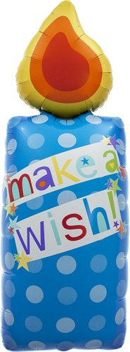 Make A Wish Candle Helium Foil Balloon - 44 inch