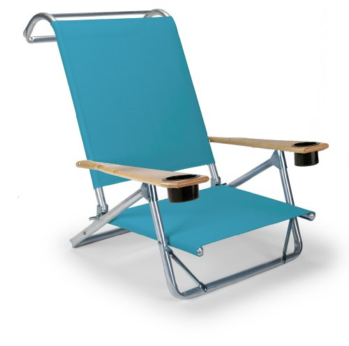 Telescope Casual Original Mini-Sun Chaise Folding Beach Arm Chair With Cup Holders, Aqua back-1018776