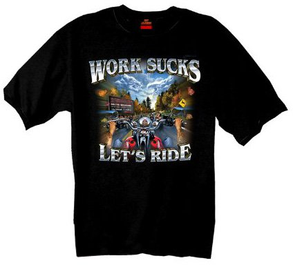 Hot Leathers Work Sucks Biker Motorcycle T-Shirt (Black, Large)