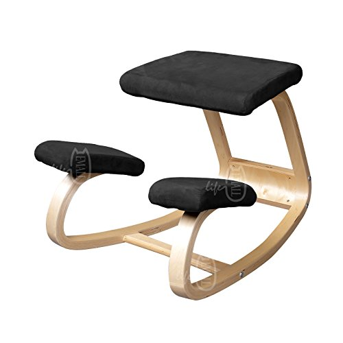 Emall Life Ergonomic Kneeling Chair Balancing Body Back Pain Wooden Chair Bentwood Comfortable, Blue/Red/Green/Black (Black)