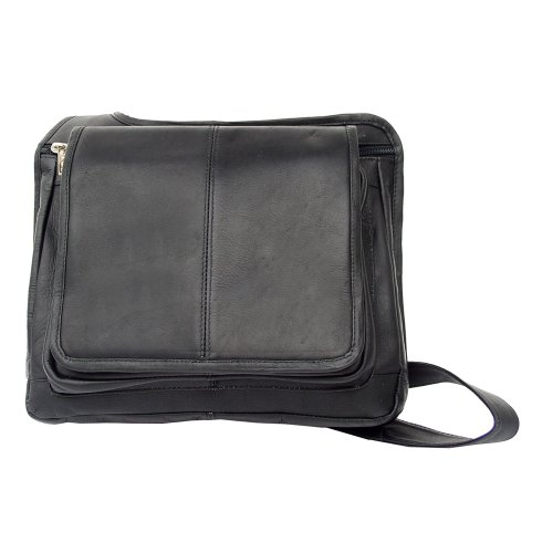 B002G146GA Piel Leather Slim Line Flap-Over Ladies Bag, Black, One Size