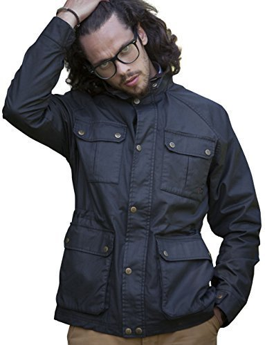3050 BLACK L (chest 41-43 inches) (Jacket Waxed Cotton compare prices)