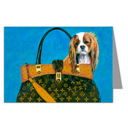 Cavalier King Charles Spaniel in Louis Vuitton Handbag Greeting Card Set