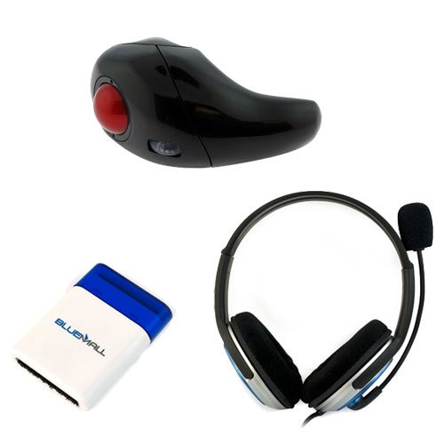GTMax Black/Blue Microphone Headset + Wireless 2 in 1 Handheld Rechargable trackball Mouse + Mini Brush for Computer, PC, Macbooks, Notebooks, Laptops, TabletsMouse
