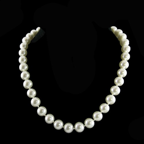 10mm Faux White Pearl Necklace 16 Inch With 2 Inch Extender