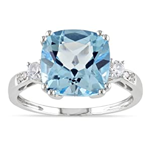 10k White Gold 5 5/8ct TGW Created White Sapphire and Blue Topaz and Diamond Fashion Ring (0.02 Cttw, G-H Color, I1-I2 Clarity)