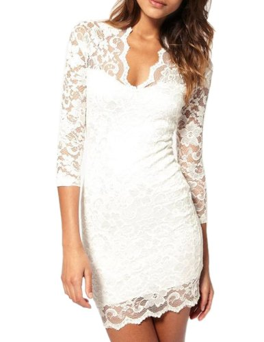 Moonar Women V Neck Cocktail Party Mini Lace Dress (Small/Us Xs, White)