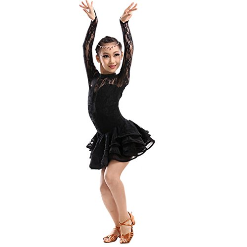 New Girls' Party Dancing Dress Latin Costume long sleeve Lace,110cm-120cm,Black