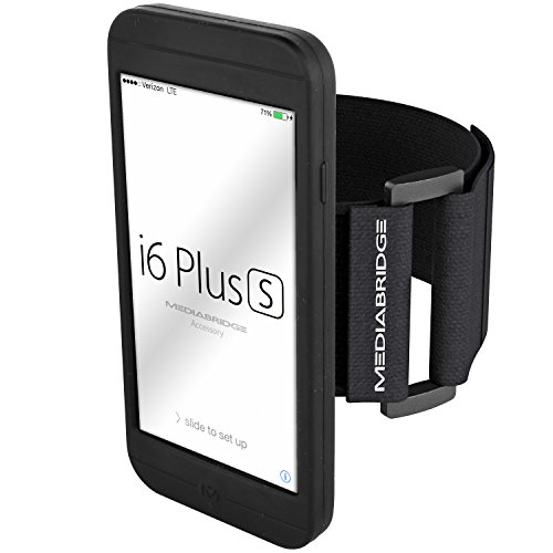 """Armband for iPhone 6 Plus / 6S Plus ( Black ) - Includes Standard Sized Strap To Fit 11""""-20"""" Arm Circumferences - Model AB1 by Mediabridge (Part# AB1-I6+-BLACK )"""