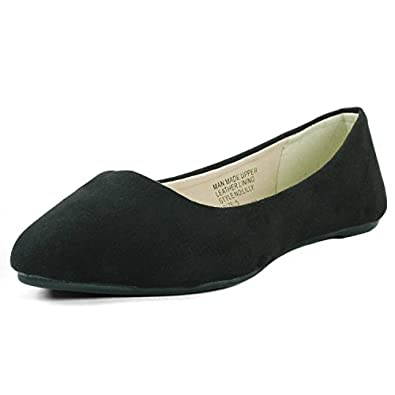 Alpine Swiss Women's Black Micro Suede Lilly Ballet Flats - Pointed Toe 5 M US
