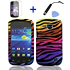4 items Combo: Mini Stylus Pen + LCD Screen Protector Film + Case Opener + Black Orange Pink Purple Color Zebra Design Rubberized Snap on Hard Shell Cover Faceplate Skin Phone Case for Straight Talk Samsung Galaxy Proclaim 720C SCH-S720C / Verizon Samsung Illusion i110