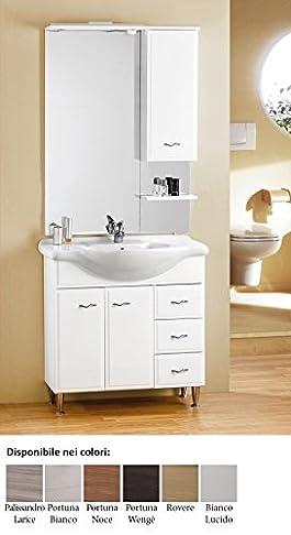 mobile da bagno moderno con lavabo e specchio Fox 105 Arredamento bagno Bianco composizione set