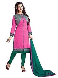 Manvaa Pink Chanderi Silk Embroidered Dress Material