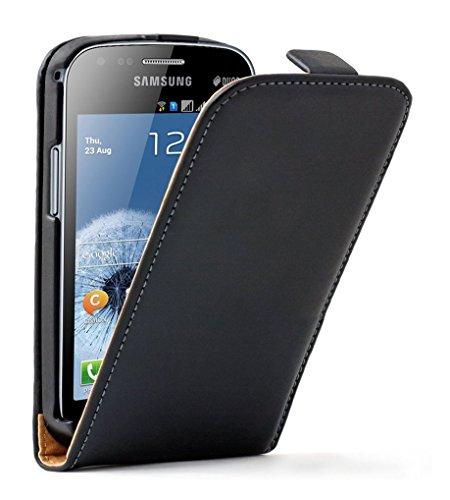 Membrane - Ultra Slim Schwarz Klapptasche Hülle Samsung Galaxy Trend Plus (GT-S7580) - Flip Case Cover Schutzhülle