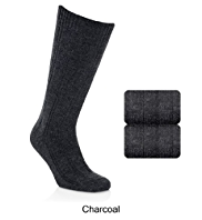 2 Pairs of Long Wool Blend Thermal Socks