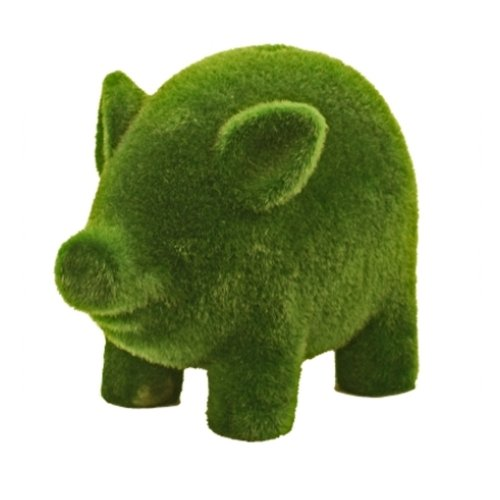 Streamline Grass Flocked Coin Bank, Piggy - 1