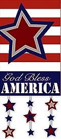 God Bless America Patriotic Garden Flag Stars Decorative Applique 12.5