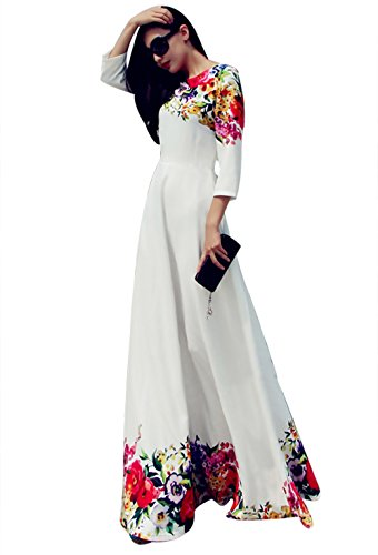 Flesser® Sexy Formal Floral Party Cocktail Party Vintage Wedding Long Maxi Dress (Small)