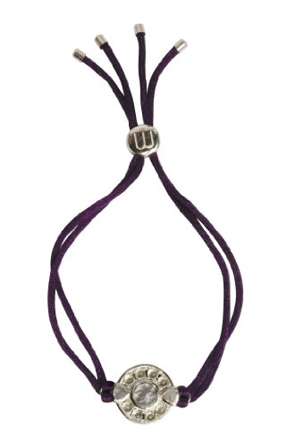 Woman by Katie Rowland Sterling Silver White Topaz Gem Set Circle Bracelet with Adjustable Silk Cord of 25cm