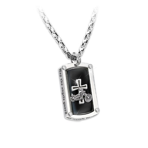 Dog Tag Pendant Necklace: Biker's Blessing by The Bradford Exchange