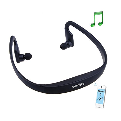 Sunvito High-Definition Wireless Bluetooth Headphones Sports Headset for iPhone 4 4S 5S Samsung HTC Smartphone (Black)