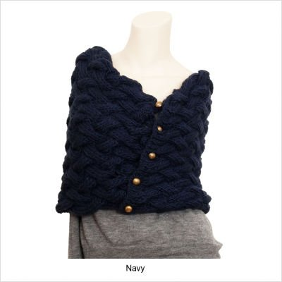 Accessories Woolen Knitted Shawl with Buttons Color: Grey
