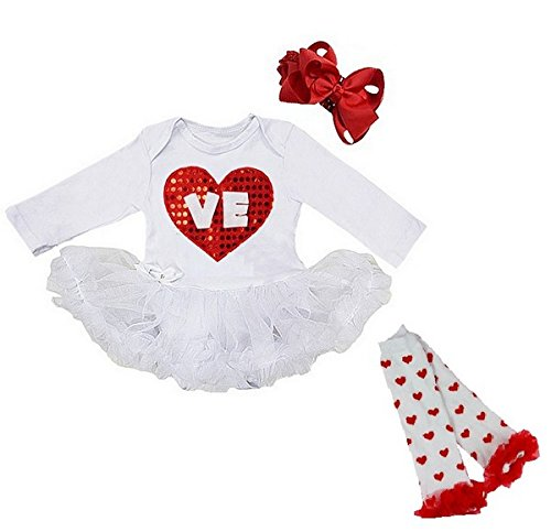Cute 3 Piece LOVE Valentine's Day Baby Tutu Dress Outfit