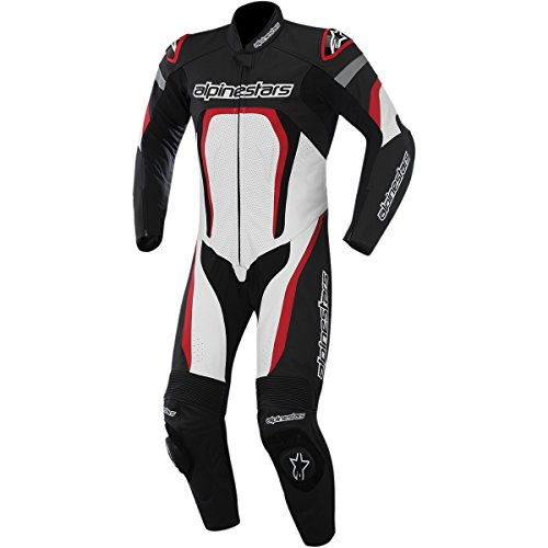 Alpinestars Motegi Men's 1-Piece Street Motorcycle Race Suits - Black/White/Red / 56