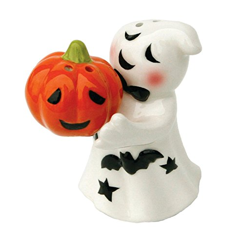 Whimsical Ghost and Jack-O-Lantern Magnetic Ceramic Salt & Pepper Shaker Set