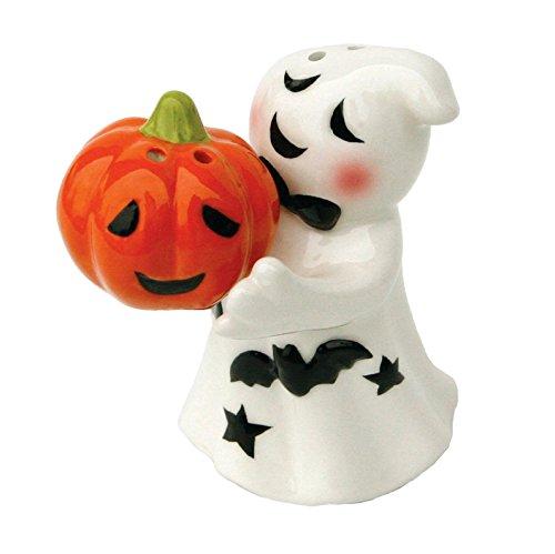 Whimsical Ghost and Jack-O-Lantern Magnetic Ceramic Salt & Pepper Shaker Set