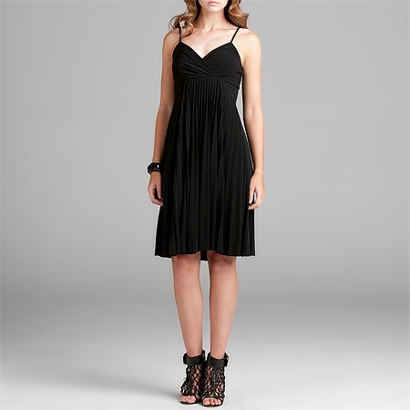 Max & Cleo Black Pleated Skirt Dress, X-Small