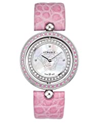 Versace Women's 79Q951D497 S111 Eon Reversible Sapphire and Diamond Bezel Pink Leather Watch