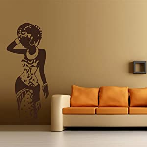 wall decal art decor decals sticker woman africa lady tribe ethiopia beauty m181. Black Bedroom Furniture Sets. Home Design Ideas