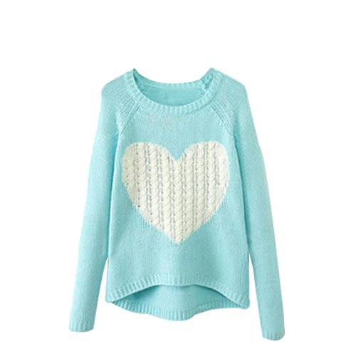 Women O-neck Long Sleeve Loose Cardigan Knitted Sweater Jumper Knitwear Outwear (M, Sky Blue)
