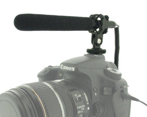 Polaroid デジタル一眼レフカメラ & ビデオカメラ用 超薄型軽量コンデンサー型ショットガンマイク (ショックマウント付属)