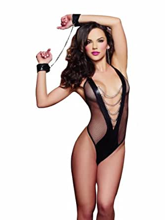 amazon   dreamgirl women s chains of desire faux leather teddy