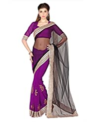 Designersareez Women Black & Violet Net & Faux Georgette Saree With Unstitched Blouse (1785)